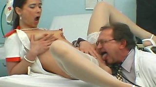 Albina lets a guy pee in her mouth and drill her shaved cunt