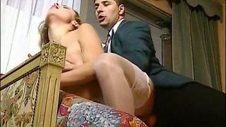 Sensational and busty blonde cutie on the couch tries anal sex
