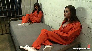 Tranny Bangs Hot Horny Brunette Inmate's Pussy in Prison