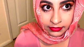 Sneaky stepdad gets blowjob from beautiful Muslim daughter.