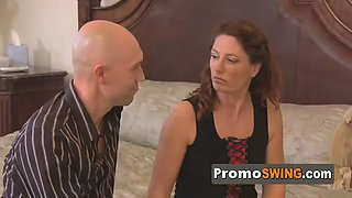 Swinger amateur guy is concerned about what type of swinging couples he will find in the swing house