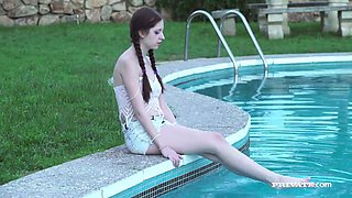 Cute with pigtails Rebecca Volpetti is fucked in her tight anus by the poolside