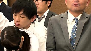 Pigtailed Japanese schoolgirl gets used by a group of guys