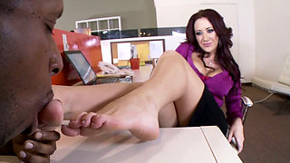Bad black boy licks toes of sexy white mommy Jayden Jaymes
