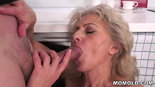 Unshaven Granny Fucked In The Kitchen