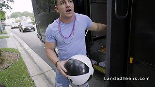 Stranded teen bangs in orgy bus