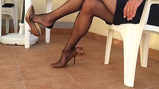 Hot Dangling by my new Stilettos  and Nylon