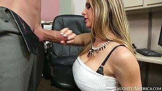 rachel roxxx proceeds to gobble his massive cock down her throat