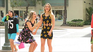 Public pussy flashing girls in pretty floral dresses