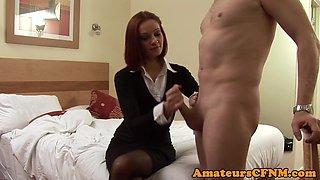 Redhead cfnm femdom spanking perverts ass