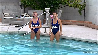 Gorgeous girls Stella and her friend strip while they swim in a pool