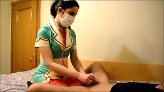 Nurse extracts cum from slave