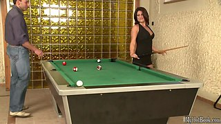 Sexy brunette with big boobs, Bellina, gets it on over a pool table with a well hung man