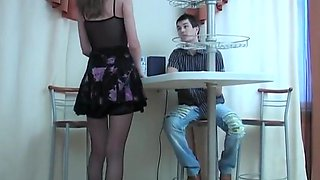 Hot mature in red pantyhose seduces boss 1