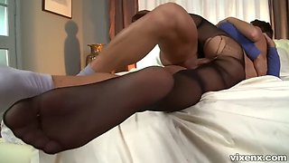 alexis brill a magnificent brunette babe in pantyhose having a hot sex