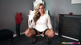 Mouth watering seductress Kellie O Brian shows her yummy pussy upskirt