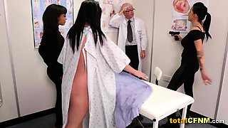 Horny doctor gets handjob by three babes