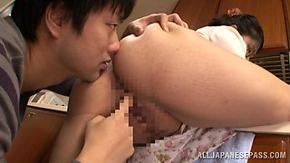 Chubby Japanese housewife gets nailed in a kitchen