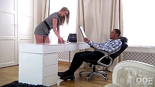Tall Russian Teen luxury Secretary gets Blacked by her Boss
