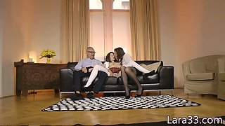 glam milf jizzed in mouth in amazing threeway movie