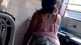 My beautiful young maid dancing sexily in my kitchen