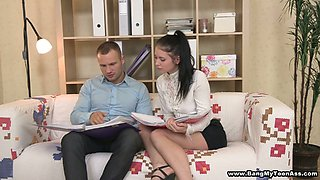 Brunette secretary Katrin gets her ass hole drilled