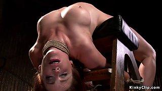 Flexible slave in brutal bondage fucked