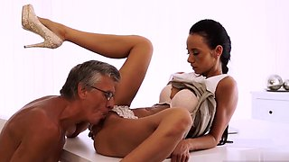 Old couple seduce young Finally she's got her manager dick
