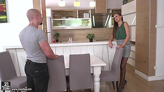 Tina Kay wears stockings while being plowed by a hot hunk