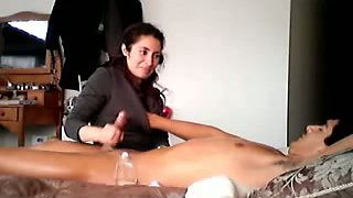 Desi submissive housewife gives dick massage to her hubby
