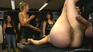 Kinky bitch with plump ass Mona Wales gets punished and fucked in public