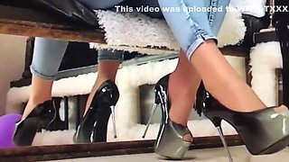 Smoking, High heels dangling, Wolford Neon Glanz 40den pantyhose, mean talk