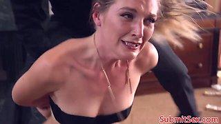 Blonde bondage sub anal fucked before foot job