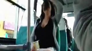 Leggy girl showing pussy on a bus
