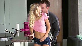 Frisky teen babysitter seduces a married couple