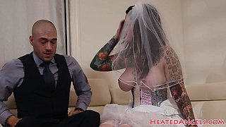 Inked bride with big tits gets pounded hard