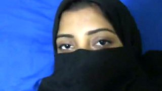 Filthy Arab girl wearing Hijab gives deepthroat blowjob. POV