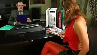 Hot mature in red pantyhose seduces boss 2