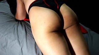 Crossdresser shows off her assets & Creampie Finish