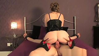 Mistress T milks tied man