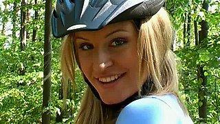 Stunning girl riding her bike & exposing her glorious teen pussy