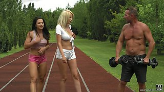 Lusty Romanian jogger Blanche Summer takes part in some hard MFF 3some