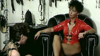 Brunette wicked milf has submissive white mature sex slave