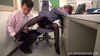 Lecherous Japanese office girl delivers an orgasmic foot job