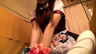 Delightful Asian maid in uniform is craving for hard meat