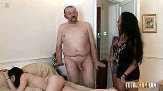Two horny ladies jerks off old dude while he was spying on their drunk nude friend