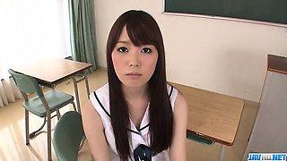 Adorable school hardcore with young Moe Sakura