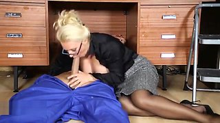 Office Milf wanks off her handyman's big jizz tool