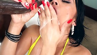 Monster black cocked stud destroying petite Latina's throat and cunt hard