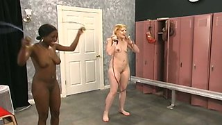 Old perve is having sex fun with two nude chicks in the locker room